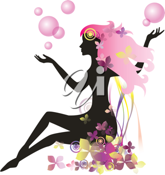 Royalty Free Clipart Image of a Floral Female Silhouette