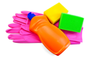 Royalty Free Photo of an Orange Bottle, Plastic Gloves and Sponges