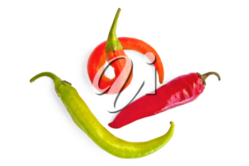 Three sharp red pepper, green and orange colors isolated on white background