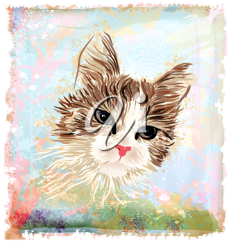 Royalty Free Clipart Image of a Cat Drawing