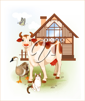 Royalty Free Clipart Image of Animals In Front of a House