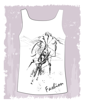shirt with hand drawn  sketch of the fantastic skier