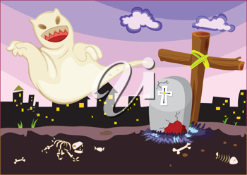 Illustration of ghost in a cemetery