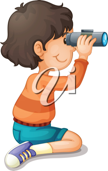 Illustration of a boy using binoculars