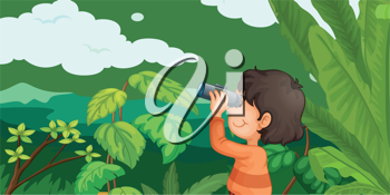 Illustration of boy in forest with binoculars