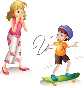 illustration of a boy and his mother on a white background