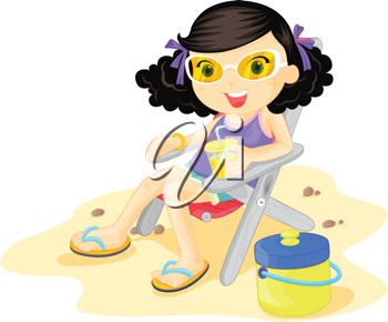 Girl sitting on beach chair on the beach