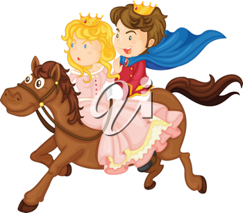 illustration of king and queen riding on a horse on a white