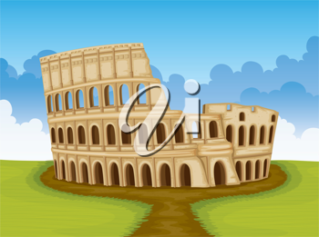 illustration of famous Colosseum in Italy