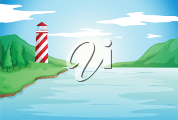 illustration of a light house in a beautiful nature