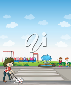 Illustration of a child with her dog across a playground