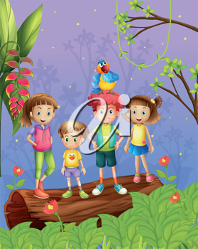 Illustration of four children with one colorful parrot in the forest