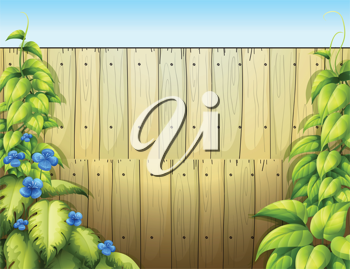 Illustration of the high wooden fence