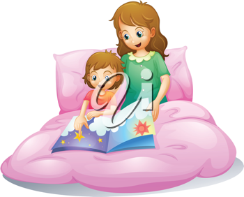 illustration of a mom and a kid sitting on a bed