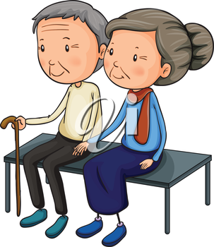Illustration of an old couple dating on a white background