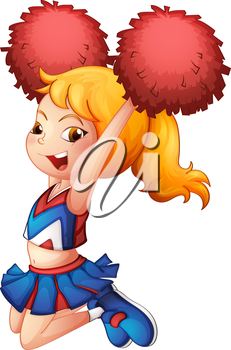 Illustration of a very cute cheerdancer with her red pompoms on a white background