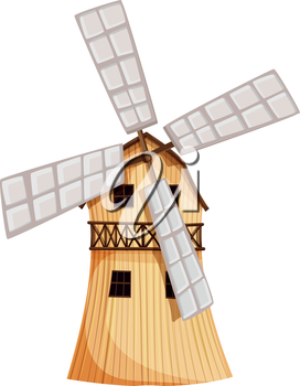 Illustration of a wooden windmill on a white background