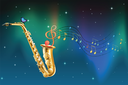 Illustration of a saxophone with a butterfly and musical notes