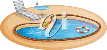 Illustration of a girl enjoying the pool on a white background