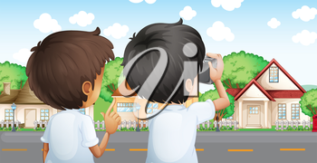 Illustration of the two young men with a camera