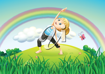 Illustration of a girl stretching at the top of the hill with a rainbow