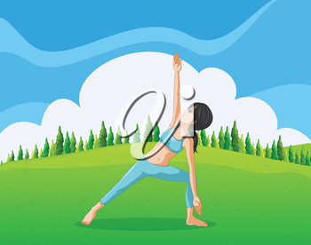 Illustration of a slim girl doing yoga at the top of the hill
