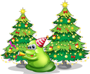 Illustration of a monster near the christmas trees on a white background