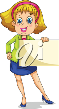 Illustration of a fat businesswoman holding an empty signage on a white background