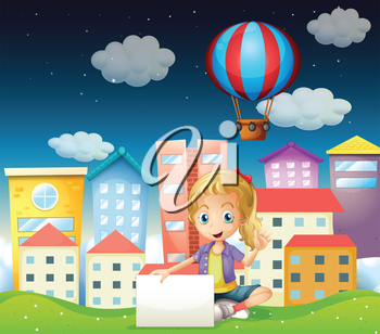 Illustration of a girl holding an empty signboard near the tall buildings