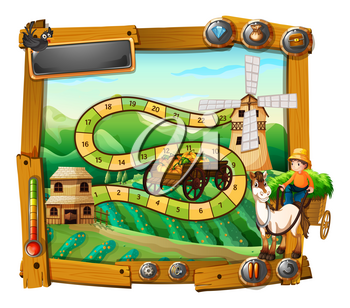 Game template with farmer on wagon illustration
