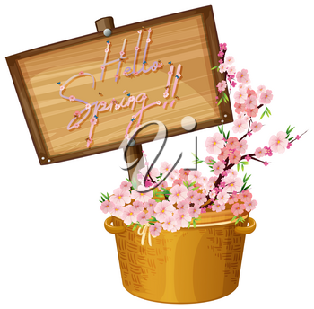 Hello spring text banner illustration