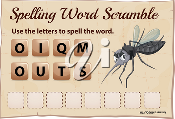 Spelling word scramble game with word mosquito illustration