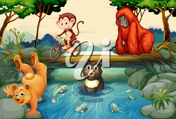 Animals by the river illustration