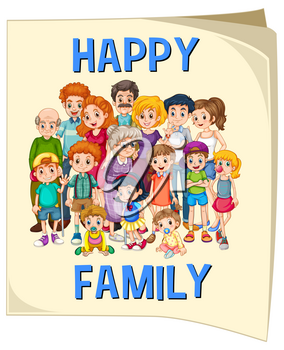 Family members on big poster illustration