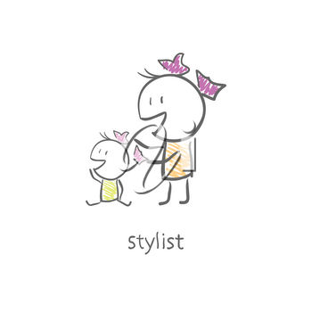 Royalty Free Clipart Image of a Stylist