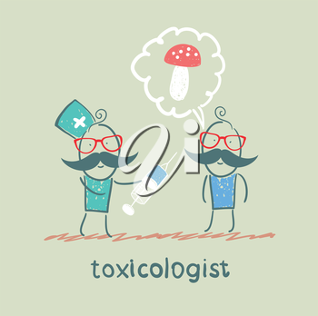 toxicologist makes the patient an injection, which has poisoned mushrooms