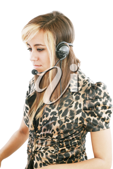 Headshot of beautiful customer service operator woman with headset, isolated on white background.