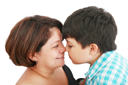 mother and son about to kiss - isolated over white