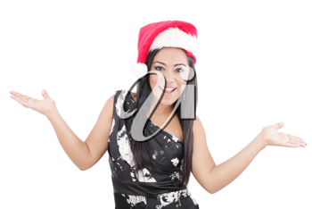 Happy woman with Santa Hat on a white background