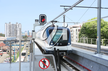 PANAMA CITY, PANAMA - MAY 10: The Panama Metro, is a metropolitan transport system that was inaugurated on April 5, 2014. It currently consists of one 8.5 mile line  serving 12 stations in Panama City