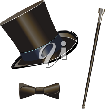Royalty Free Clipart Image of a Top Hat and Bow Tie
