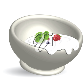 Royalty Free Clipart Image of a Bowl of Yogurt