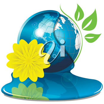 Royalty Free Clipart Image of a Globe and Flowers