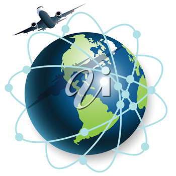 Royalty Free Clipart Image of a Plane and Globe