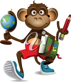 illustration of a monkey student with a globe and a book