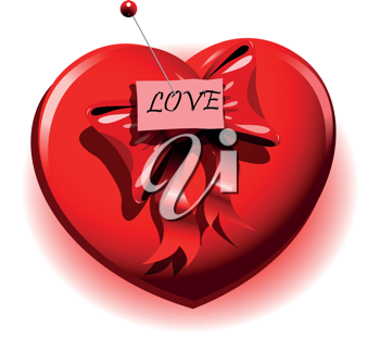 illustration red heart with a safety pin