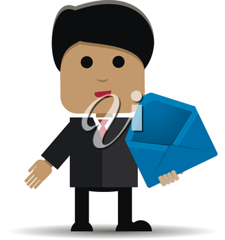 Abstract illustration of a man with a blue envelope