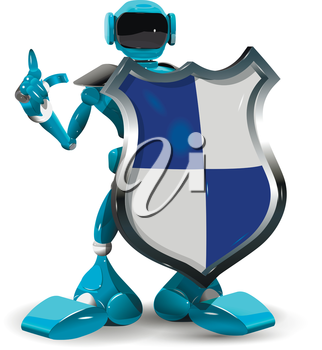 Illustration of a robot with a shield