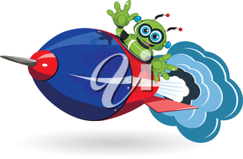 Illustration green robot and red a rocket