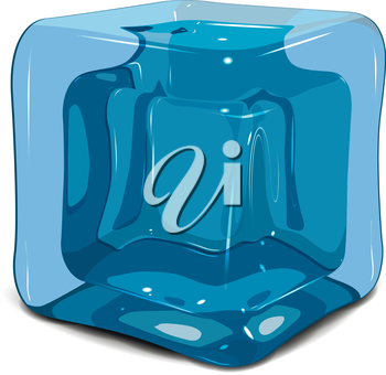 Illustration of an ice cube on a white background